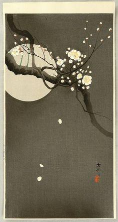 "Ohara Koson, ""Flowering plum and moon"""