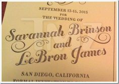 Invitatii de nunta - LeBron James si Savannah Brinson - Invitatii nunta.