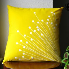 Britta Yellow Pillow Cover by on Etsy Yellow Pillow Covers, Diy Pillow Covers, Yellow Pillows, Cushion Covers, Cushion Embroidery, Embroidered Cushions, Hand Embroidery, Embroidery Designs, Embroidery Letters
