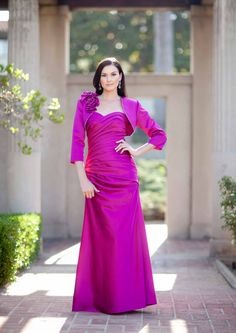 2015 Satin Fuchsia Sweetheart Sleeveless Jacket Ruched Floor Length Mother of the Bride Dresses MBD331