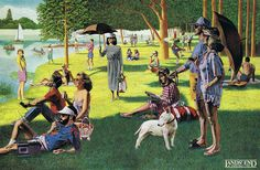 Advertisement for Lands' End, 1986 by D.Typical Eighties. (Georges Seurat, A Sunday Afternoon on the Island of La Grande Jatte, Vintage Photography Women, Georges Seurat, Famous Art, Art Institute Of Chicago, Bull Terrier, Art For Kids, Sunday, Fine Art, History