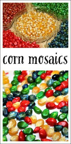 Colorful Corn Mosaics - use dyed corn kernels to create fall process art! Perfect for a harvest or farm theme, or even for some Thanksgiving art!