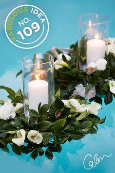 Backyard Wedding Decor – A Floating Pool Candle & Wreath