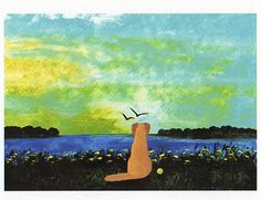 Yellow Lab Dog folk art PRINT of Todd Young