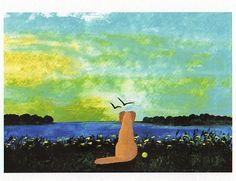 Yellow Lab Dog folk art PRINT of Todd Young