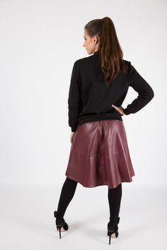 PU A-LINE MIDI SKIRT R 485.00 - Elasticated high or low waistband - PU leather look material Pu Leather, Leather Skirt, Line, Midi Skirt, Ballet Skirt, Skirts, Collection, Fashion, Moda