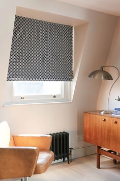 Team mid-century warm wood tones and tan leather furnishings with a geometric Roman blind for a modern retro look Blackout Roman Blinds, Mid Century Living Room, Tan Leather, Mid-century Modern, House Ideas, It Is Finished, House Design, Colours, Curtains