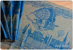 Natibaby Machine Volantes Blue/Gold Machines Volantes Wrap  (hemp) Image