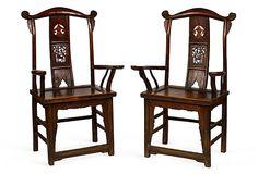 Chinese Elm Hall Chairs, Pair on OneKingsLane.com