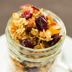 Maple-Almond Granola with Dried Cranberries Apricots | Brown Eyed Baker  I suppose you can substitute the maple syrup with honey.