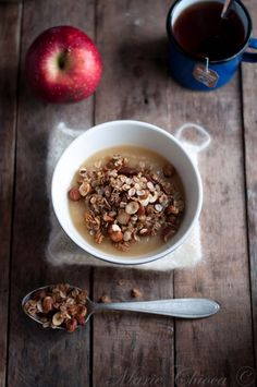 { Un petit matin d'hiver…} | Saines Gourmandises Granola, Cereal, Oatmeal, Brunch, Food And Drink, Snacks, Vegan, Breakfast, Cake