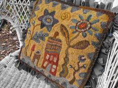Hideaway House Pattern PDF for rug hooking and by primitivespirit