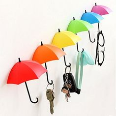 UYIKOO Key Holder Key Hanger Wall Key 6 PCS Colorful Umbrella Wall Rack Wall Key Holder Key Organizer For Keys, Jewelry And Other Small Items (6PCS)