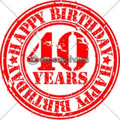 sello de goma feliz cumpleaños grunge de 40 años, ilustración vectorial