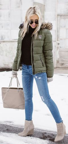 #winter #fashion / Green Puff Jacket / Ripped Skinny Jeans / Grey Booties / Black Turtleneck