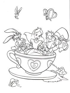 Alice in Wonderland, : Fantasyland Mad Tea Party Alice in Wonderland Coloring Page