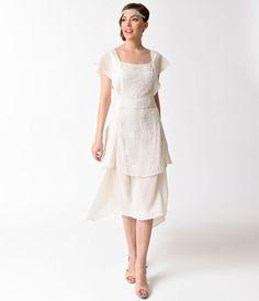 Unique Vintage 1920s Style Ivory Chiffon Geraldine Beaded Flapper Dress $148