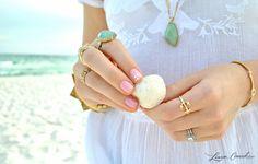 summer nails and rings