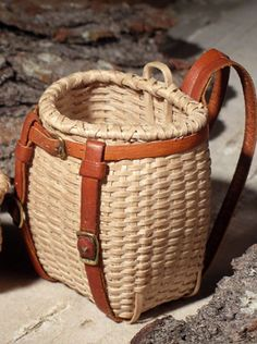 Miniature Maine Packbasket, brown ash, leather, brass