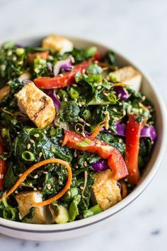 Kale Salad with Fried Tofu and Miso Ginger Dressing - an easy vegan salad with asian flavors | http://healthynibblesandbits.com