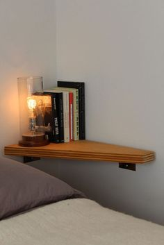 Great idea for my side of the bed - nightstand in corner over bed, for small room