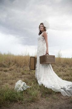 Oh I have a great idea for a photo--I'll grab all my creepiest, most ancient suitcases and pose in the abandoned lot behind the Rite Aid! My Perfect Wedding, Gorgeous Wedding Dress, Boho Wedding Dress, Dream Wedding, Wedding Fun, Wedding Ideas, Bridal Pictures, Wedding Photos, Woodland Wedding Inspiration