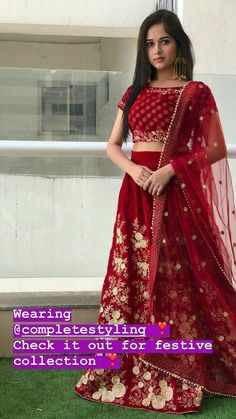 Jannat in red lehengas Gowns For Girls, Dresses For Teens, Girls Dresses, Lehenga Designs, Indian Wedding Outfits, Indian Outfits, Wedding Dresses, Spring Fashion Outfits, Fashion Dresses
