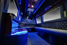 The inside of the newest addition to our fleet in a word? Sweet! The custom-built, Mercedes Sprinter Limousine. Seats 10 passengers, J-surround seating, 2 flat screen TVs, XM Sirius satellite radio, DVD player, iPod docks, privacy screens, remote control window and speaker to chauffeur, bar, crystal ware. Great for group outings. Book it for your next night out, tour, or special event. 615-678-4695. Nashvilleairportlimo.com