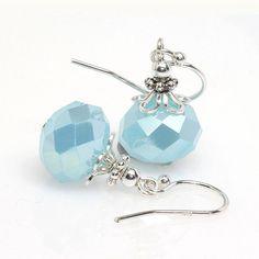 Baby Blue Earrings, Petite, Small, Light Blue, Aqua, Dangle, Drop Earrings, Sterling Silver, Elandra Designs