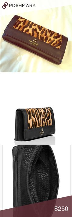 NWT leopard leather Kate Spade clutch Brand new with dust bag! Perfect accessory for the animal print lover! Adorable clutch. Last pic has details. Rare find! Sold out quickly and limited design was made. kate spade Bags Clutches & Wristlets
