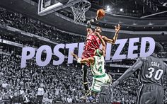 LeBron James dunk over Jason Terry... Source: http://www.basketwallpapers.com