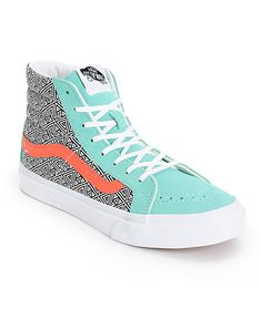 Take it back old school with the Vans Sk8 Hi Slim Geo Cockatoo and Hot Coral skate shoe. Designed with skating in mind, these Vans high tops are built with a padded collar and vulcanized outsole with a slimmer profile for the ladies, while the geo print c