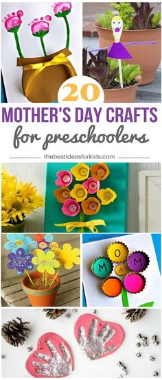 20 Mother's Day Crafts for Preschoolers - so many great ideas here! Love the handprint, footprint, egg carton and flower craft ideas! via @bestideaskids