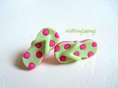 Polka Dot Flip Flop Button Post Earrings by WildThingEarrings, $4.00