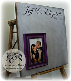 Wedding Guest Book Alternative, Purple and Gray Wedding, 20X20 100 to 150 Guests, Baby Shower, Graduation Party, The Sugared Plums. $85.00, via Etsy.
