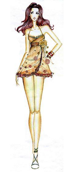Croqui Ivete Columbina #ilustração #fashion #illustration #dress