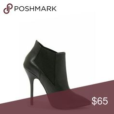 """Steve Madden Leather Pointed Toe High Heel Booties New Steve Madden Devil Booties made from a soft black leather. Two wide elastic gussets for a slim fit around the ankle. Stiletto heel measures a wicked 5"""" tall. Cushioned insole. Rubber sole.  Size 8.5, Fits True to Size. Steve Madden Shoes Ankle Boots & Booties"""