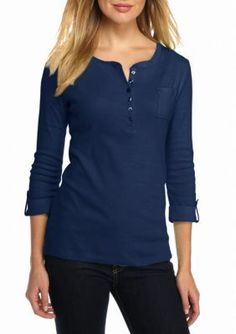 Kim Rogers  Rolled Sleeve One Pocket Henley Top