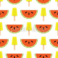 Watermelons and Icecream Pattern Design Pattern Design by Elena Alimpieva at patterndesigns.com