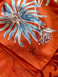 Vintage Vera Neumann Silk Scarf Blue by MyBloomingNest on Etsy