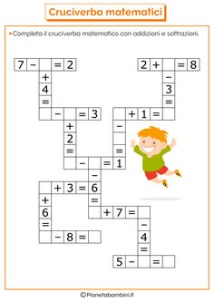it wp-content uploads 2016 07 Crossword-Mathematical-Addition-Sub Mental Maths Worksheets, Maths Puzzles, Worksheets For Kids, Math Resources, Math Activities, Math Classroom, Kindergarten Math, Teaching Math, Math For Kids