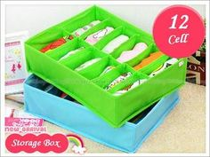 Bright Color 12 Cell Organizing Storage Boxes Closet Clothes Underwear Socks