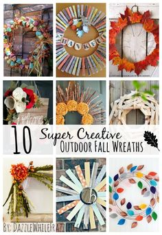 Are you looking for some super CREATIVE outdoor fall wreaths? Get DIY front door decor ideas in this collection of outdoor fall wreaths / via DazzleWhileFrazzled blog