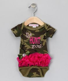 Take a look at this Green Camouflage 'The Hunt is On!' Bodysuit - Infant by Little Diva on #zulily today!