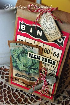 A Bingo Craft Card creates the base for this garden gift bag.