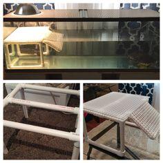 New basking spot for our turtles! PVC basking dock for turtle tank