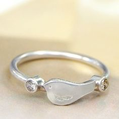 le petit oiseau bird ring with diamonds  custom by ottobone, $260.00