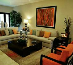 33 Awesome Modern Living Room Ideas - Home Bestiest Living Room Orange, Indian Living Rooms, Living Room Modern, Living Room Sofa, Home Living Room, Living Room Designs, Living Room Decor, Sala Indiana, Indian Home Decor