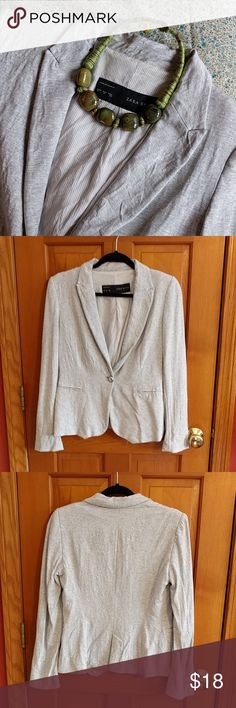 "Lightweight Zara Basic blazer Very versatile blazer, can be dressed up or down.  Lightweight viscose blend, good for transition months too.  Great for the gal who doesn't really like to completely dress down on Fridays.  17"" flat across under the armpits, 23"" length. Zara Jackets & Coats Blazers"
