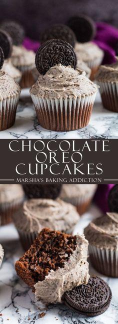Chocolate Oreo Cupcakes | http://marshasbakingaddiction.com /marshasbakeblog/